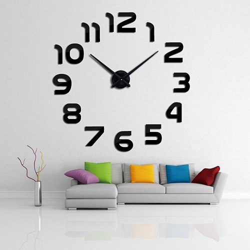 Wall clock watch clocks horloge 3d diy acrylic mirror Stickers Home Decoration Living Room Quartz Needle free shipping
