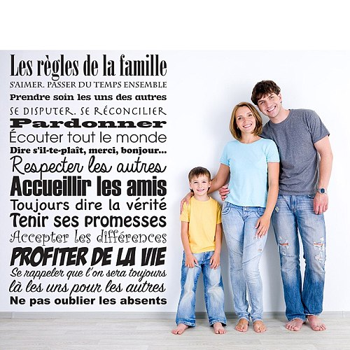 Vinyl Wall Sticker Mural French Quotes House Rules Family Decor DIY Art Decals Poster