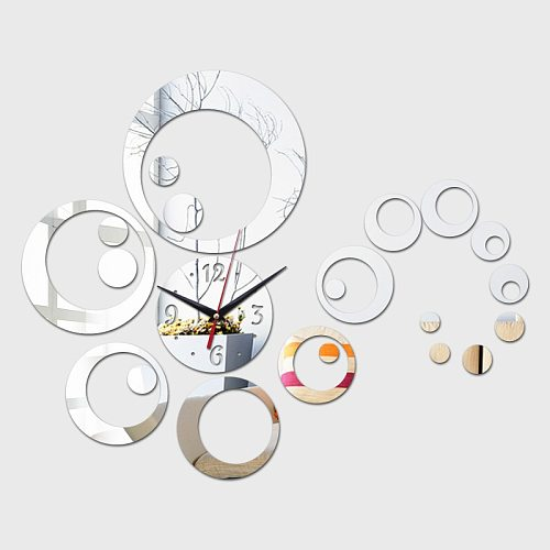New 3d Diy Acrylic Mirror Home Decoration wall Clock Horloge Watch Large Decorative Quartz Living Room Modern Wall sticker