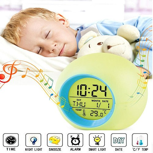 Digital LED Backlight Screen Wake Up Bedside Desk Alarm Clock With Natural Sounds Vibrant Ringtones Student Gifts