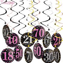 Taoup 18 21 30 40 50 60 70 Birthday Party Supplies Photobooth Badge Hanging Swirls Happy Birthday Party Decors Adult Accessories