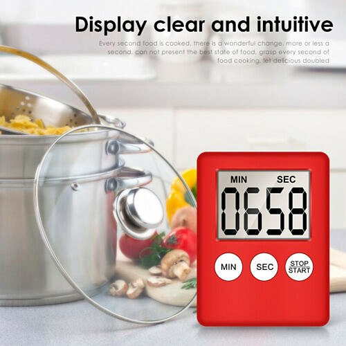 Magnetic Wall Large Digital LCD Kitchen Egg Cooking Time Timer School Count Down Up 24 Hours Shower Study Sports Kit Alarm Clock