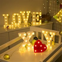 Luminous LED Letter Night Light Creative 26 English Alphabet Number Battery Lamp Romantic Wedding Party Valentine's Day Decor