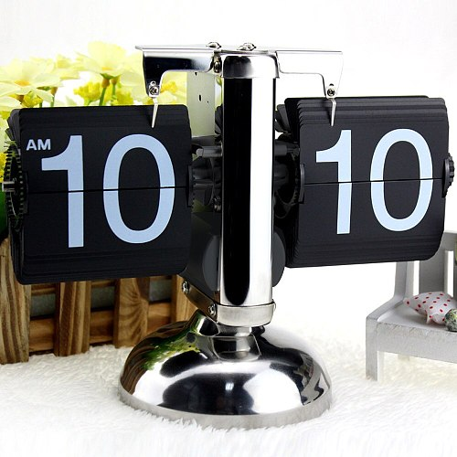 Black/White Small Scale Table Clock Retro Flip Over Clock Stainless Steel Flip Internal Gear Operated Quartz Clock