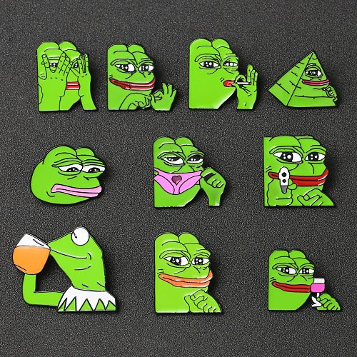 Pepe Frog Brooch Pin Sad Funny Kermit The Frog Muppet Show Drink Beer Badge Popular Fashion Jewelry Feels Good Bad Man Wholesale