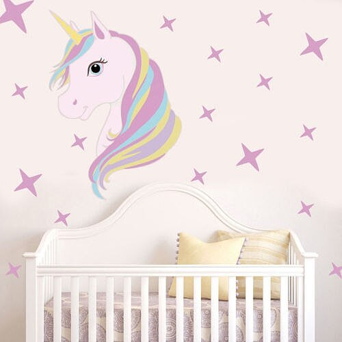 Hot Sale Cute Unicorn Bling Stars Removable Wall Stickers Decal Art Stickers Vinyl Home Room Decors