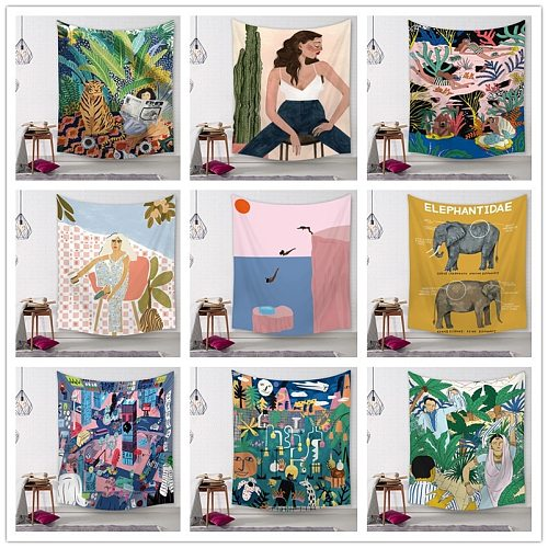Beauty Wall Hanging Bohemian Printed Microfiber Fabric Home Decoration Bedspread Wall Tapestry Home Decoration Wall