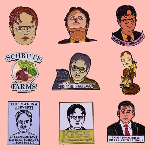 The Office Dwight Schrute Character Enamel Brooch Pins Badge Lapel Pins Alloy Metal Fashion Jewelry Accessories Gifts