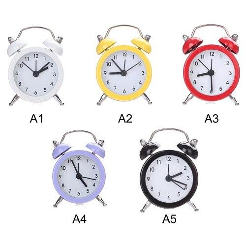 Small Bed Alarm Clock Twin Bell Silent Alloy Stainless Metal Alarm Clock Digitale Klok Creative Cute Mini Metal Alarm Clock