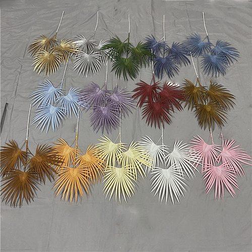 Artificial Flower Palm 3 Heads Fan Leaf Plastic Green Plants Wedding Flower Arrangement Color Leaf Table Home Decor Photo Props