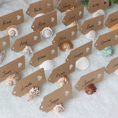 Free Shipping(20pcs/lot)Natural Mix Shell Place Card Hold for Beach Wedding Natural Shell Conch Reception Table Chic Decor
