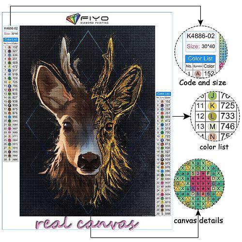 FIYO DIY Golden Animals Full Diamond Painting Kits Crystal Rhinestone Cross Stitch Embroidery Decorative Paintings Wall Stickers