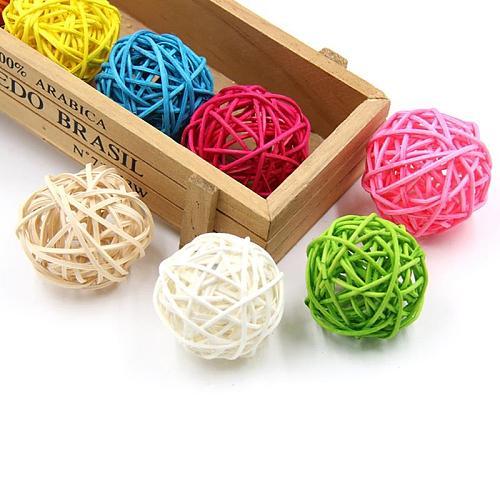 5Pcs/Set Solid Color Rattan Balls Decor DIY Home Decor Accessories Creative Sepak Takraw Rattan Decor For Wedding Party