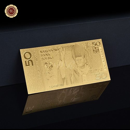 Unique Metal Craft Poland 50 Gold Plated Banknote Fine Best Gifts