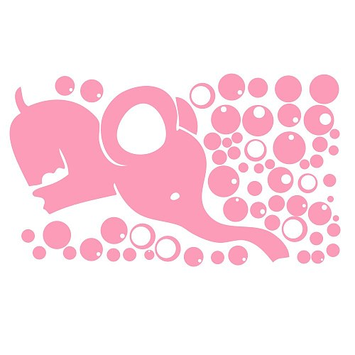 Girls Room Sticker Cute Elephant Blowing Bubbles Wall Decal Art Vinyl Wall Decor Sticker for Baby Bedroom