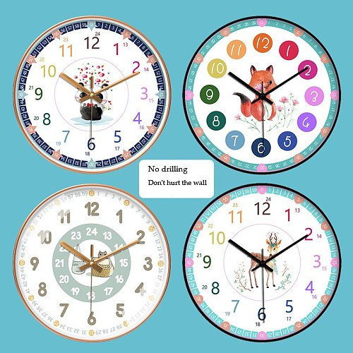 Wall Clock Early Education Learning Clock Creative Quiet Education Home Classroom Living Room School Teaching Aids Math Clock