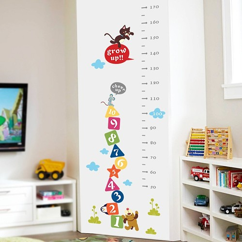 Cat Dog Funny Mouse Growth Chart Number Height Measure Wall Sticker For Kids Baby Nursery Bedroom Home Decor Decal Poster Mural