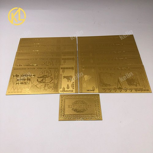 10 pcs/lot Zimbabwe Token Money 100 Trillion Dollar Gold Plated Banknote Replica Token Money with Cerfiticate Card for Gift