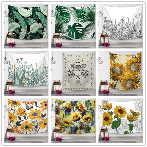 Plant Printed Tapestry Whale Arowana Wall Hanging Tapestries Boho Bedspread Yoga Mat Blanket 200*148cm