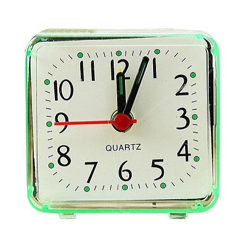 Small Square Bed Alarm Clock Children Student Desk Table Clock Portable Transparent Case Compact Digital Mini Alarm Clock D02