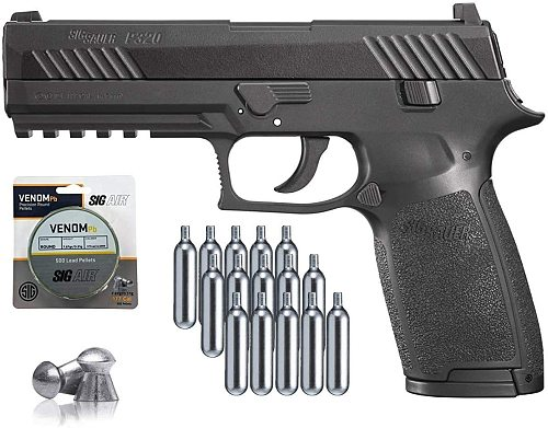 Sig Sauer P320 Air Pistol with Co2 12 Gram (15 Pack) and 500 Lead Pellets Toy Gun Sign Board Wall Decoration Display Board