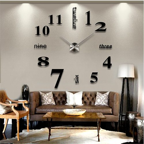 3D Wall Clock Mirror Wall Stickers DIY Watches Large Acrylic Quartz Wall Clocks Removable 4 Color Art Decal Sticker Home Decor