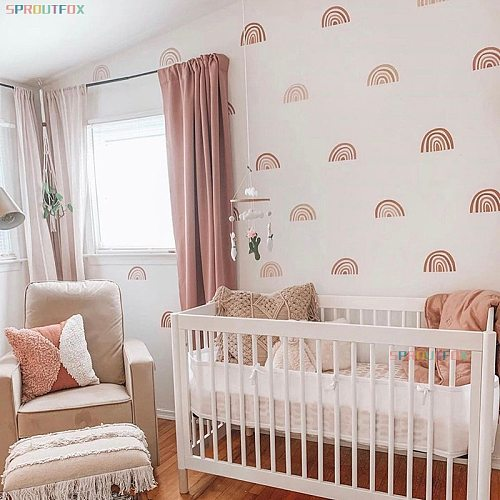 Rainbow Wall Stickers For Kids Rooms Nordic Bohemia Style Decorative Sticker Children Wall Stickers Decoration Room Kids Girls