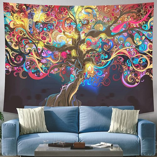 Wishing Trees 3D Print Tapestry Wall Hanging Psychedelic Decorative Wall Carpet Bed Sheet Bohemian Hippie Home Decor Couch