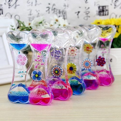 Moving Drip Oil Hourglass Creative Double Color Floating Motion Liquid Bubble Timer Acrylic Liquid Oil Hourglass Home Decoration