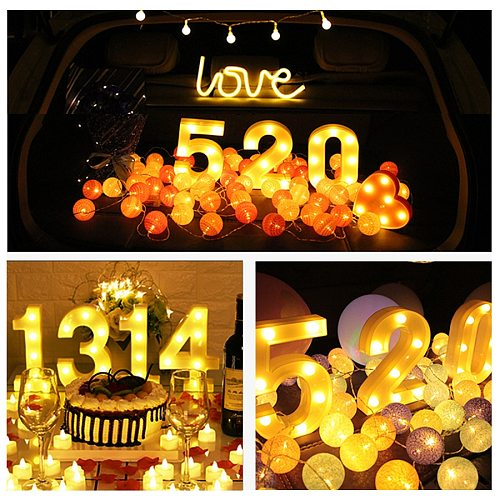 16CM Luminous LED Letter Night Light Creative 26 English Alphabet Number 0-9 Battery Lamp Romantic Christmas Wedding Party Decor