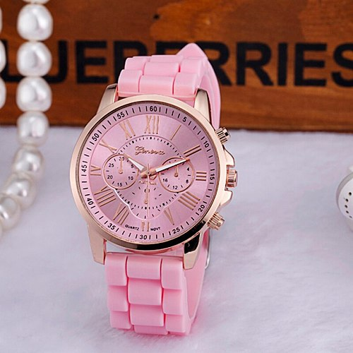 Women Watches High Quality  Geneva Women Roman Numerals Silicone Jelly Gel Quartz Analog Wrist Watches Digital Women Clock #W