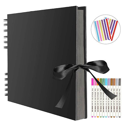 Photo Albums 80 Black Pages Memory Books A4 Craft Paper DIY Scrapbooking Picture Wedding Birthday Childrens Gift