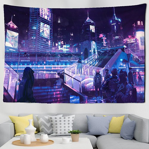 Cyberpunks Future Steam City Tapestry Art Home Psychedelic Galaxy Hanging Wall Tapestry Hippie Retro Home Decor
