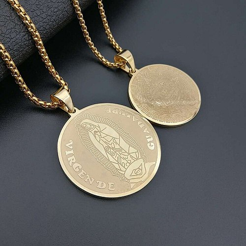 Hip Hop Gold Stainless Steel Maya Sundial Pyramid Lucky Commemorative Virgin Mary Round Pendants Necklace for Men Rapper Jewelry