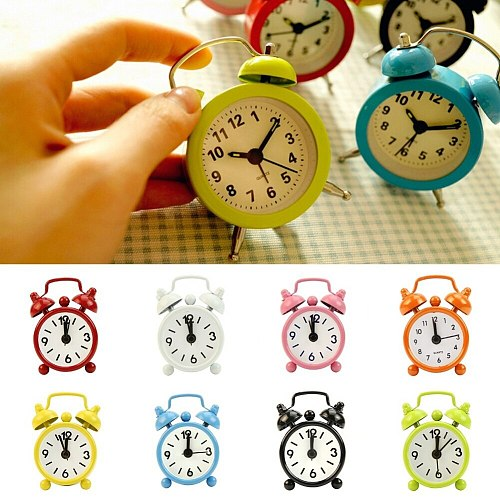Classic Home Cute Battery Operated Analog Mini Round Bedside Desk Alarm Clock