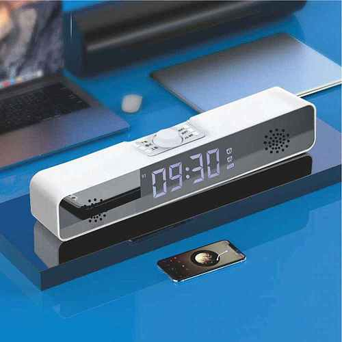 Bluetooth wireless speaker tf Home bluetooth speaker 3D digital alarm clock led table clock decoration with temperature FM radio