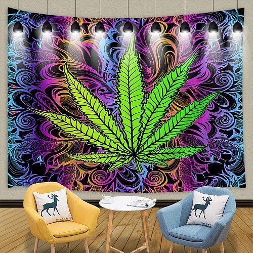 Weed Leaf Psychedelic Tapestry Wall Hangings Blanket Art Dorm Decor Bedspread Bedroom Living Dorm  Room Decoration Aesthetic