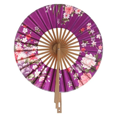 Japanese Flower Pocket Folding Hand Fan Round Circle Party Decor Gift