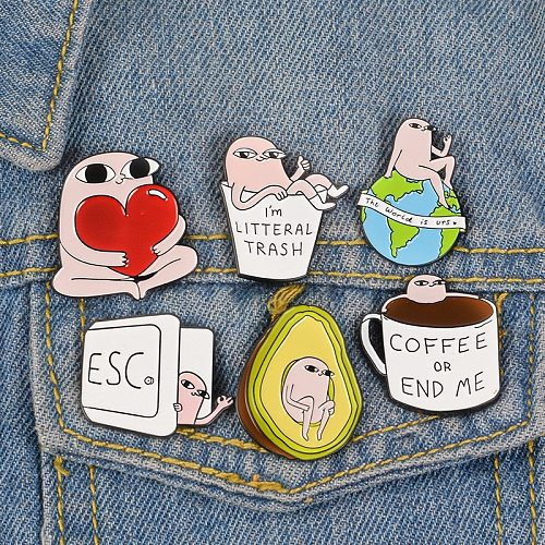 Cartoon pink little monster metal brooch button pin denim jacket pin jewelry decoration badge clothes lapel pin