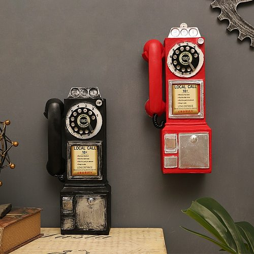 Vintage Rotate Classic Look Dial Pay Phone Model Resin Retro Booth Telephone Figurine Home Decoration Ornament Crafts Accessory