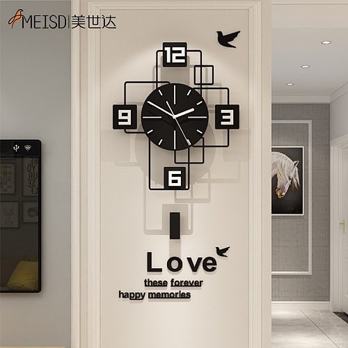 MEISD Creative Wall Clock Modern Square Watch Black Stickers Home Decor Room Horloge Silent Living Room Decoration Free Shipping