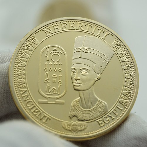2pcs Coins Egyptian Nefertiti Figure Pyramid Art Commemorative Sundial Gold Coin Collection Home Decoration Accessories