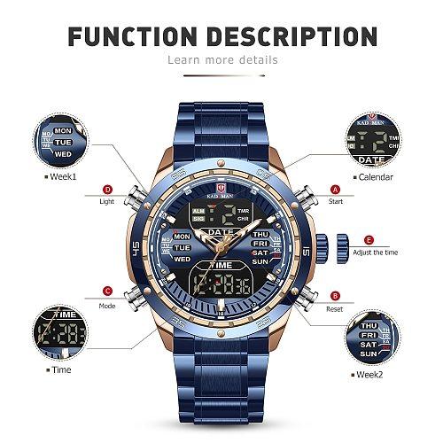 KADEMAN Top Brand Men Military Sport Watches Mens LED Analog Digital Watch Male Army Stainless Quartz Clock Relogio Masculino