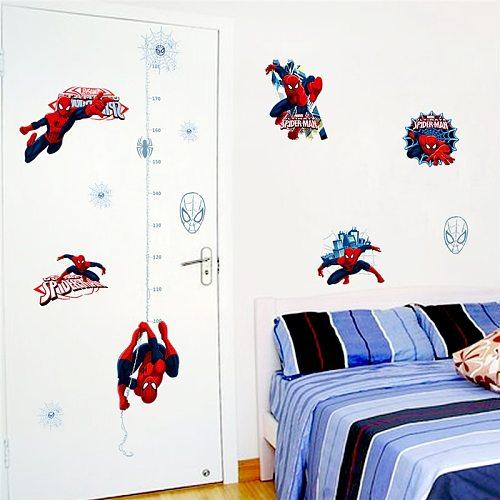 Disney Marvel Hero Spiderman Height Measure Wall Stickers Bedroom Home Decor Cartoon Growth Chart Wall Decals Pvc Mural Art