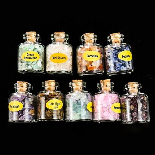 9 Bottles Natural Gravel Stones Semi-precious Stones Mini Glass Wishing Bottles Specimens Lucky Drifting Bottle Birthday Gifts