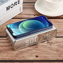 3 in1 LED Electric Alarm Clock Wireless Charger Phone Charging Pad Digital Thermometer Clock HD Clock Mirror Digital clock Table