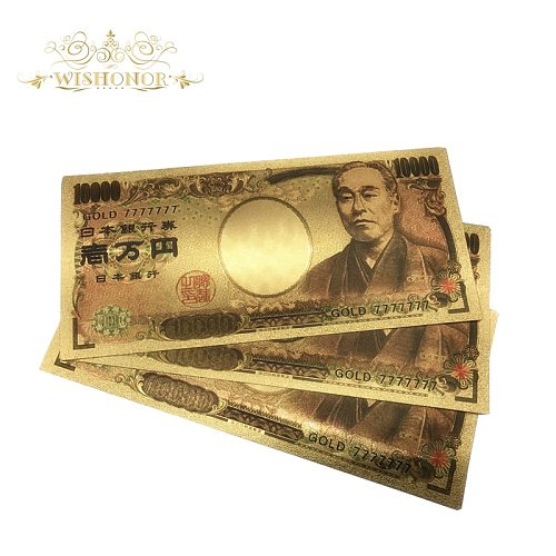Wishonor 10pcs/lot Lucky 777777 Color Japan Banknotes 10000 Yen Gold Banknote in 24K Gold Fake Paper Money For Hot Sales