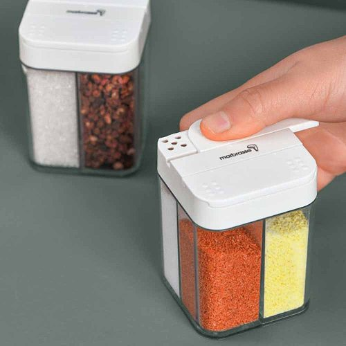 1PC Seasoning Box Plastic Transparent 4 Grid Pepper Spice Shaker Salt Seasoning Jar Condiment Bottle Kitchen Storage Gadgets