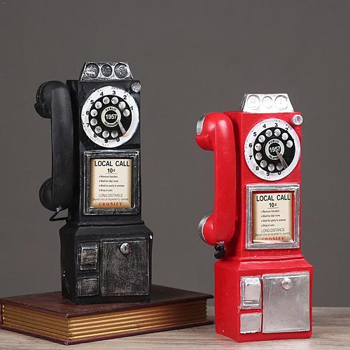 Vintage Telephone Model Wall Hanging Crafts Resin Home Model Telephone Decoration Creative Furniture Vintage Gift Miniature O8R1