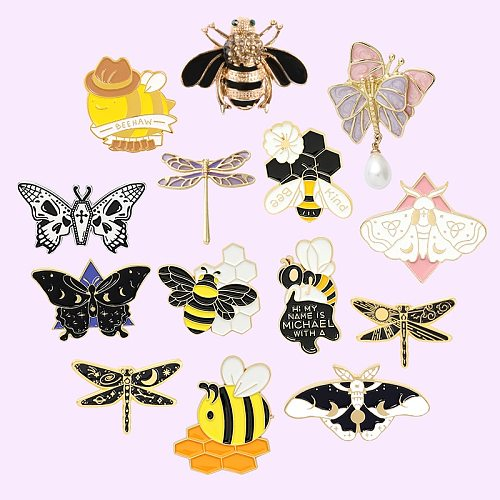 Insect Series Enamel Pins Dragonfly Butterfly Bee Brooches Lapel Pin Backpacks Cute Badge Jewelry Gift for Friends Wholesale
